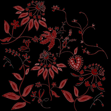 red floral tracery on black background Illustration