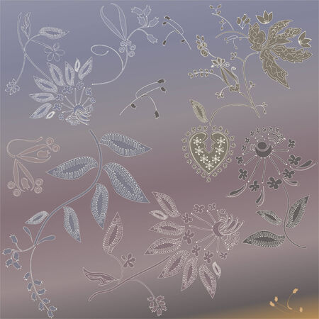 abstract flowers pattern on a purple background vector Illustration