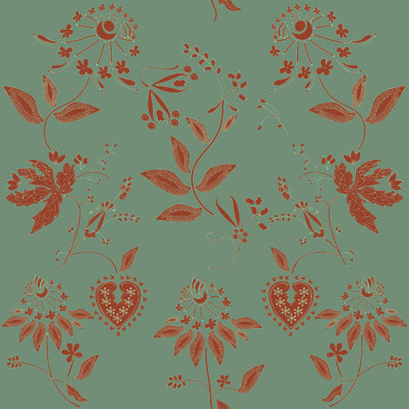 seamless red abstract  floral tracery on green background
