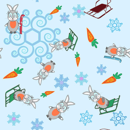 Winter seamless background bunny and sleigh snowflakes Illustration