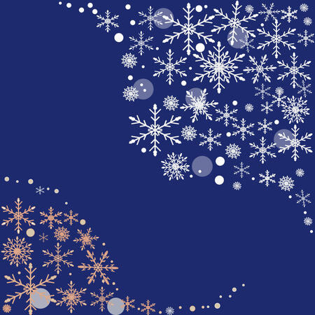 Abstract background blue and white Christmas with snowflakes  Illustration