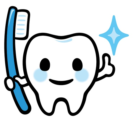 Happy smiling tooth have a toothbrush