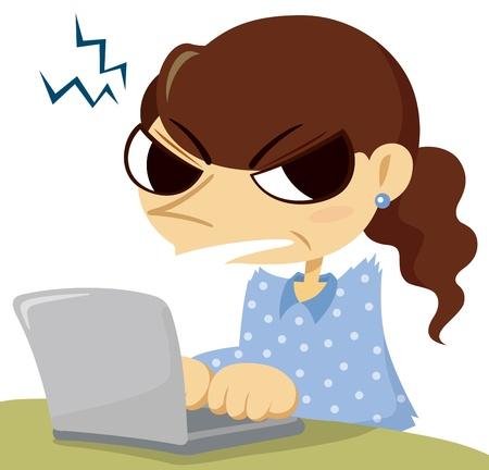 Angry mujer de mediana edad con un ordenador portátil