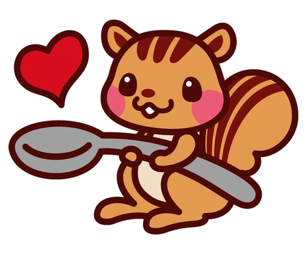 Squirrel with a spoon Illustration