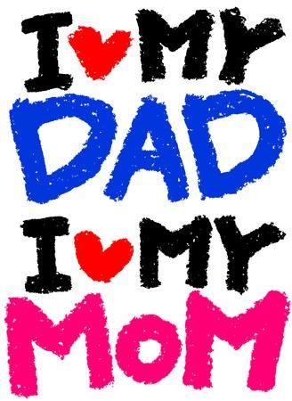 I Love My DAD   I Love My MOM  イラスト・ベクター素材