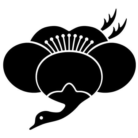 日本語鶴梅と日本の家紋 写真素材 - 18066227