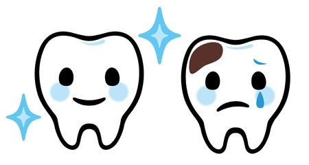 cavities: Cartoonish Teeth Dental Care Illustration