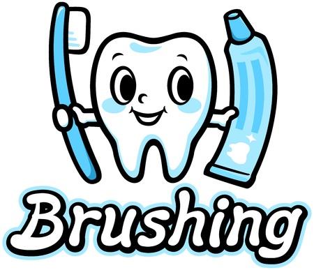 幸せな笑顔歯のブラッシング  イラスト・ベクター素材
