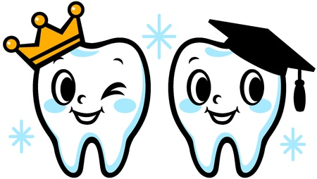 teeth whitening: Happy smiling tooth  Graduation cap and crown