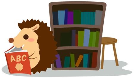 Hedgehog reading a book