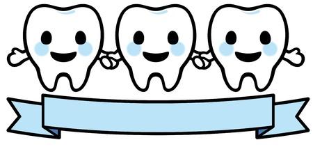 molares: Feliz sonriente tres dientes Vectores