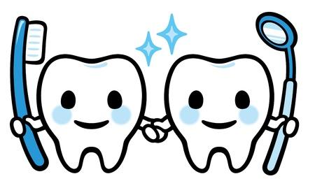 illustrierte: Paar Gl�cklich l�chelnde Zahn Illustration