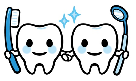 cavities: Pair of Happy smiling tooth