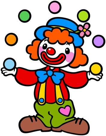 Clown playing ball Vector