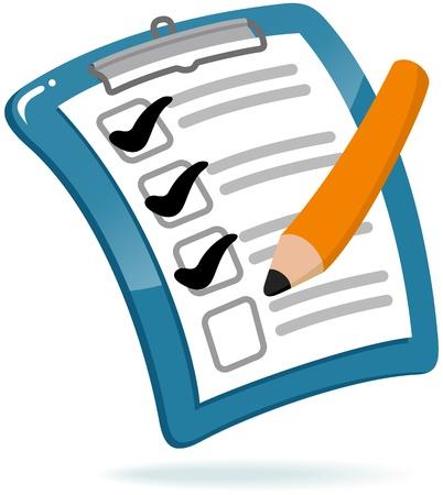 teste: Prancheta com lista de verifica��o