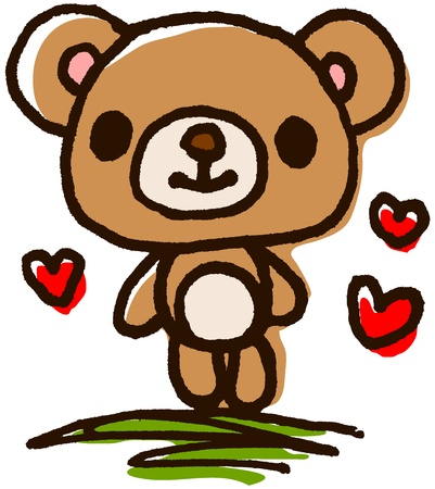 Cute bear hand-painted Vector