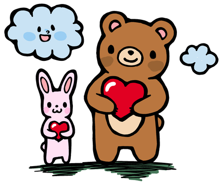 Rabbit and bear with a cute cloud and Heart