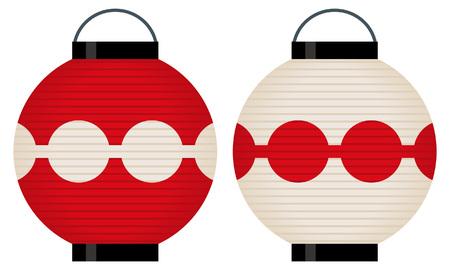 kyoto: Red and white ball lanterns Illustration