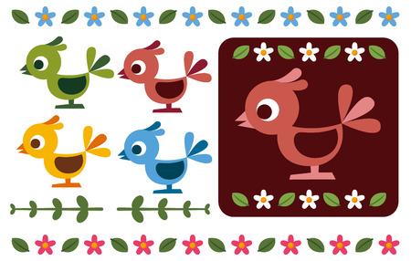 Retro bird and flower decoration Illustration