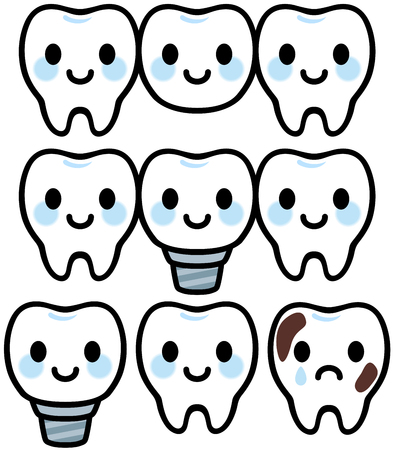 smiles teeth: Cute character of dental treatment