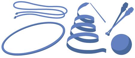 Rhythmic Gymnastics of the hand tool of the illustrations (club ribbon rope hoop ball) Illustration