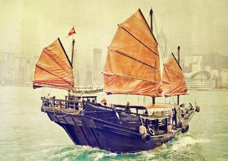 tour boats: Old time Hongkong Stock Photo