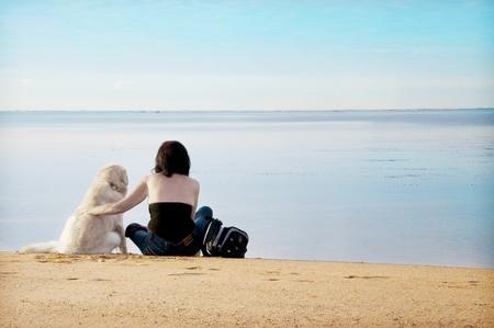 frau mit hund: Beste Freunde Lizenzfreie Bilder