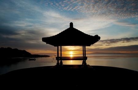 sanur: Sunrise at Sanur beach, Bali Stock Photo