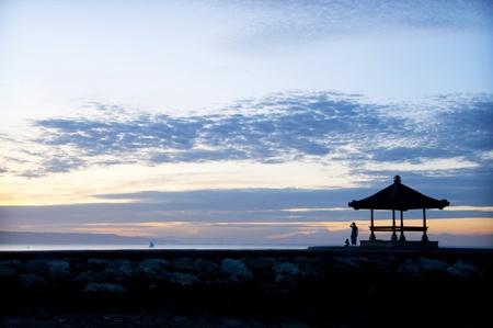 sanur: Sunrise on Sanur beach, Bali Stock Photo