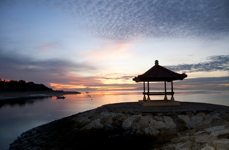 Sunrise on Sanur beach, Bali Stock Photo