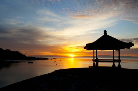 Sunrise on Sanur beach, Bali photo