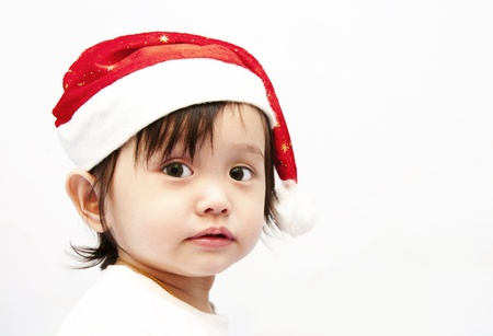 Little baby girl and Santa Stock Photo