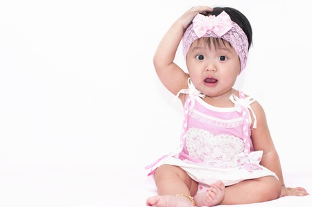 childishness: Little baby girl in pink