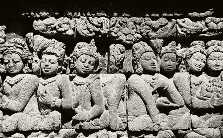 The carving of Borobudur temple