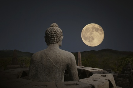 stone buddha: Borobudur night