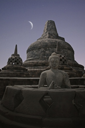 Borobudur Night  Stock Photo