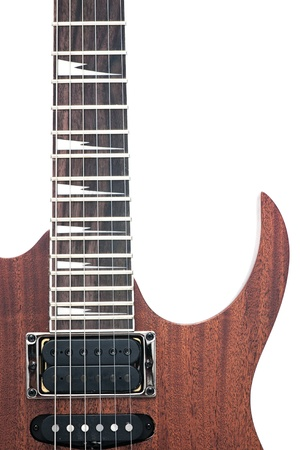 inlay: electric guitar fingerboard with sharktooth inlay  Stock Photo