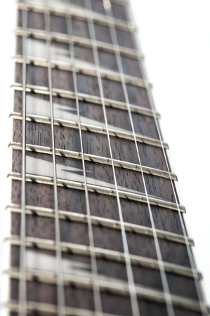 electric guitar fingerboard with sharktooth inlay Stock Photo