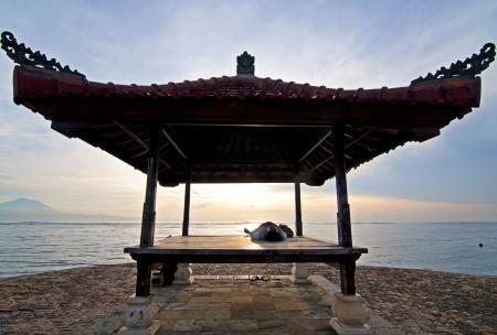 Sunrise on Sanur beach, Bali Stock Photo