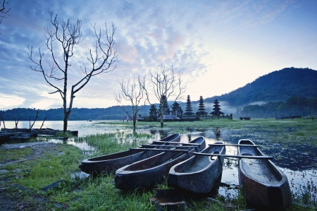 indonesia people: The boats and Temple of Lake Tamblingan, Bali, Indonesia