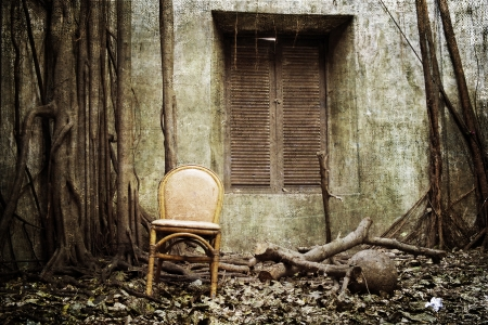 the old windows, the root and the old chair with the old wall on background - grunge and textured Stock Photo - 20847755