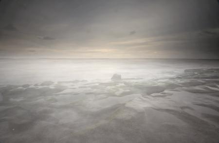 foggy beach long exposure