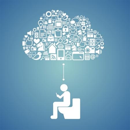 accessing: acceso a la nube en el inodoro Vectores