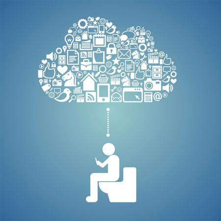 accessing cloud in the toilet Vector