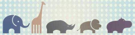 elephant, giraffe, rhino, lion and hippo Vector