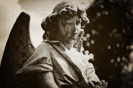 spooky graveyard: Angel tombstone - vintage textured