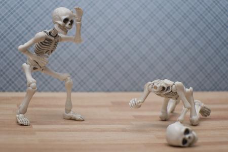 Skeleton - head drop joke Stock Photo