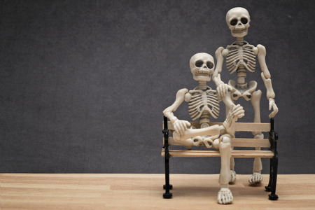 anatomia humana: Esqueletos plantean Foto de archivo