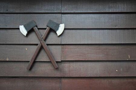 axes: axes on the wall