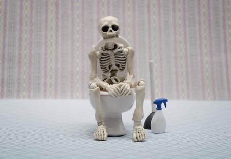 halloween skeleton: skeleton toilet
